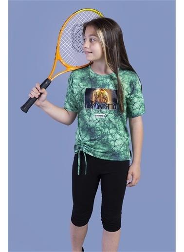 Toontoy Kids Toontoy Kız Çocuk Batik Desenli Baskılı Taytlı Takım Yeşil